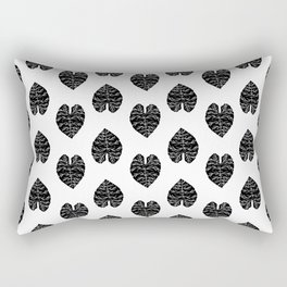 Leaf tropical linocut blockprinted stamp leaves black and white minimal modern pattern art print Rectangular Pillow