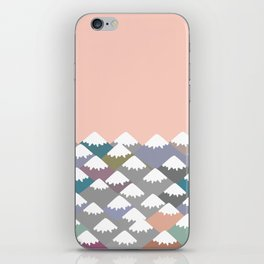Nature background with Mountain landscape. Gray, pink, blue navy mountain with snow-capped peaks. iPhone Skin