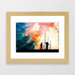 Construction In The Weather. Framed Art Print