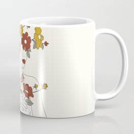 Colorful Thoughts Minimal Line Art Woman with Wild Roses Coffee Mug