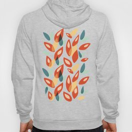 Orange Blue Yellow Abstract Autumn Leaves Pattern Hoody