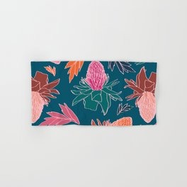 Tropical Ginger Plants in Coral + Teal Hand & Bath Towel