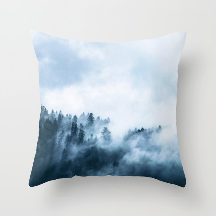 The Wilderness, Foggy Forest Throw Pillow