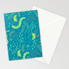 Seaweed Ocean Pattern with Crabs and Minnows Stationery Cards