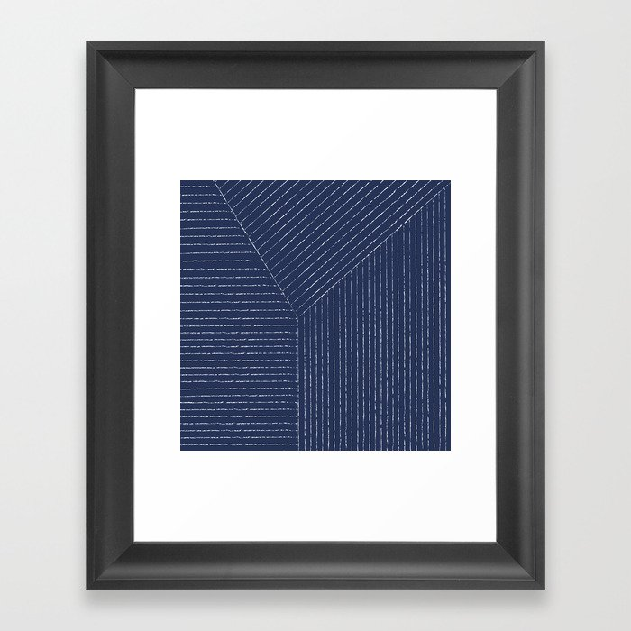 Lines (Navy) Gerahmter Kunstdruck