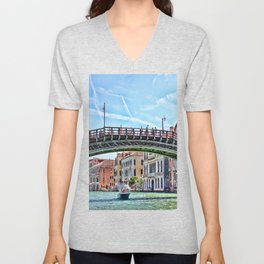 Ponte dell' Accademia Bridge In Venice, Italy Unisex V-Neck