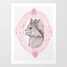 Cameo Squirrel Art Print