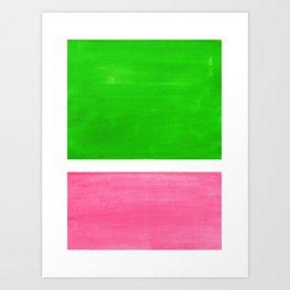 Colorful Bright Minimalist Rothko Color Field Midcentury Vintage Pop Art Petal Pink Leaf Green Art Print