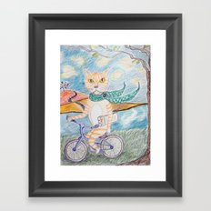 cat on bike Framed Art Print