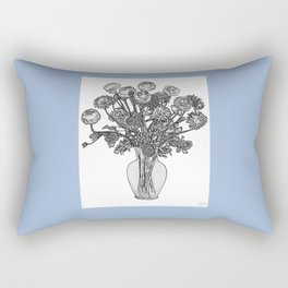 Spring Flowers in Vase on Robin's Egg Blue Background Rectangular Pillow