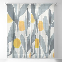 Seamless Watercolor Pattern Mystical Pattern Watercolor Floral Flowers Grey Blue Leaves Orange Fruit Sheer Curtain