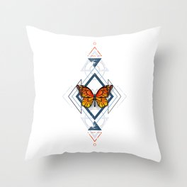 Geometric Pattern with Monarch Butterflies Throw Pillow