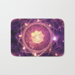 Emblazoned Gold & Royal Purple Mandala of the Stars Bath Mat