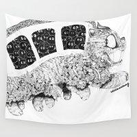 studio ghibli Wall Tapestries featuring Studio Ghibli Cat Bus Black & White Zentangle Drawing Doodle by vivianhitsugaya