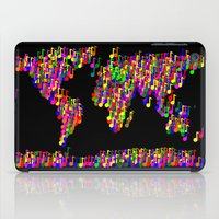 music notes iPad Cases featuring World Map Music Notes by mailboxdisco