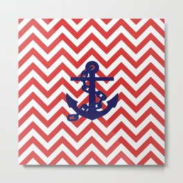 Blue Anchor on Red and White Chevron Pattern Metal Print