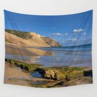 portugal Wall Tapestries featuring Praia da Luz beach, Portugal by Michael Howard