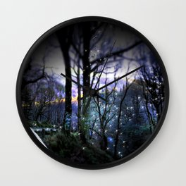Forest Fairy Path Ireland Woodland Photography Purple Wall Clock