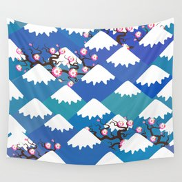 Spring Nature background with Japanese cherry blossoms, sakura pink flowers landscape. blue mountain Wall Tapestry