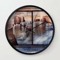 mirror Wall Clocks featuring mirror by Andreas Derebucha