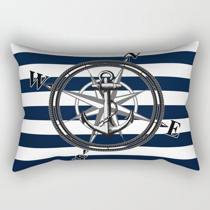 Navy Striped Nautica Rectangular Pillow