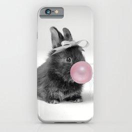 Cute Little Rabbit Gum Print, Nursery Wall Art, Rabbit Poster, Bubblegum Art iPhone Case