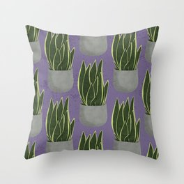 Potted Snake Plant with Purple Background Throw Pillow