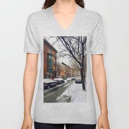 Brooklyn New York City Snow Showers Unisex V-Neck