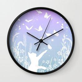 Butterfly Chasing Garden Cat Wall Clock