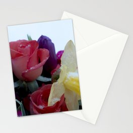 Vibrant bouquet of flowers in the snow Stationery Cards