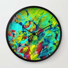 A LITTLE OF THIS - Bright Colorful Abstract Ocean Painting Circle Pattern Magenta Lime Fun Gift Wall Clock