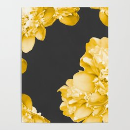 Yellow Flowers On A Dark Background #decor #society #homedecor Poster