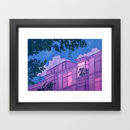 Looking into windows at night Framed Art Print