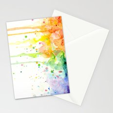 Watercolor Rainbow Splatters Abstract Texture Stationery Cards