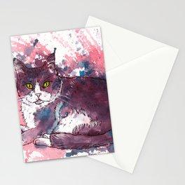 Cat painting, lavender colors, beautiful pet portrait Stationery Cards