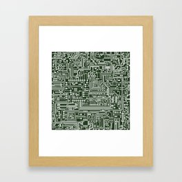 Circuit Board // Green & White Framed Art Print