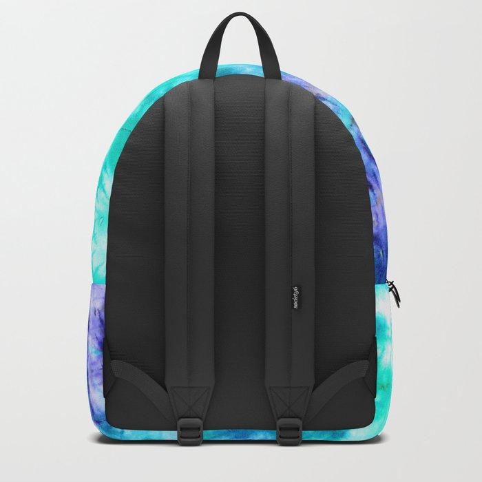 modern boho blue turquoise watercolor mermaid tie dye pattern Backpack