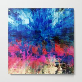 Bright Blues and Pinks Pattern Abstract Metal Print