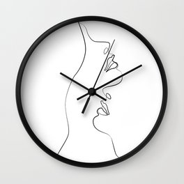 Lovers - Minimal Line Drawing Art Print4 Wall Clock