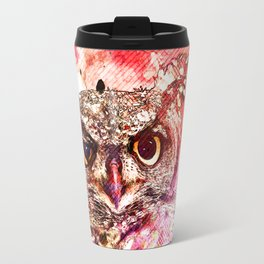 Watercolor Owl, Vintage Owl, Mixed Media Owl, Animal Owl, Bird Owl, Best Owl,Owl Print, Owl Painting Travel Mug