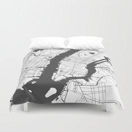 New York City White on Gray Street Map Duvet Cover