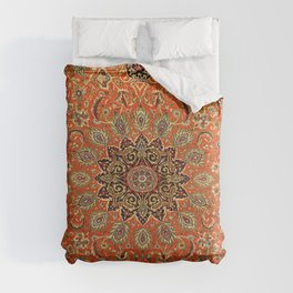 Central Persia Qum Old Century Authentic Colorful Orange Yellow Green Vintage Patterns Comforters
