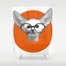 Fennec Fox wearing glasses Shower Curtain