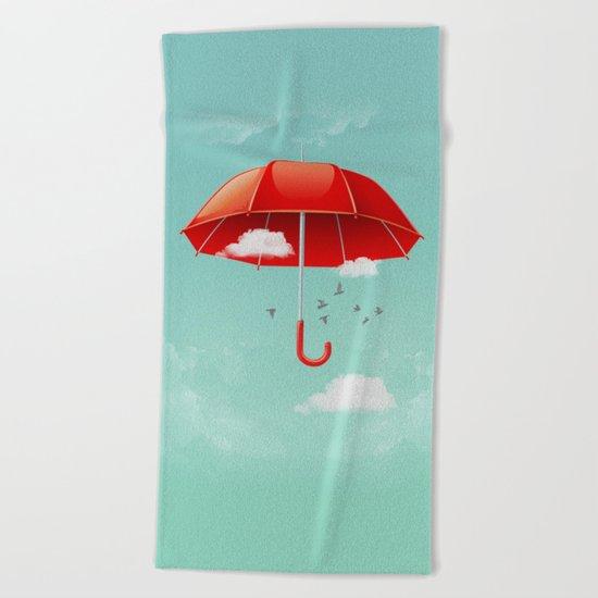 Teal Sky Red Umbrella Beach Towel