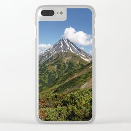 Picturesque summer panorama of volcanic landscape in Kamchatka Peninsula Clear iPhone Case