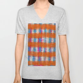plaid pattern abstract texture in orange blue pink Unisex V-Neck