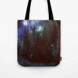 Galaxy Forest Deep Dark Blue & Green Tote Bag