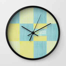 pale blue and yellow  Wall Clock