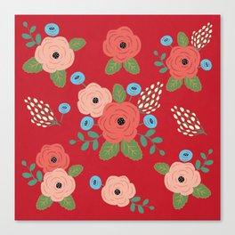Flower Pattern, Pink Blue Flowers on Red, Vintage Floral Design Canvas Print