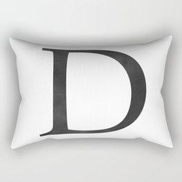 Letter D Initial Monogram Black and White Rectangular Pillow